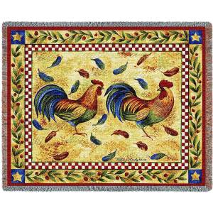 Two Roosters | Afghan Blanket | 54 x 70