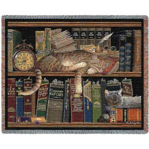 Remington The Well Read Cats | Throw Blanket