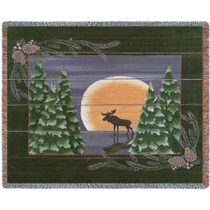 "Moonlight Moose Blanket   70"" x 54"""