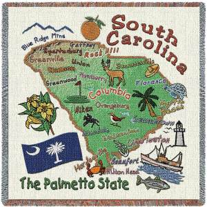 South Carolina State Map Blanket | Woven Tapestry Throw | 54 x 54