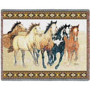 """Steppin Out (Horses)   Tapestry Blanket   70"""" x 53"""""""