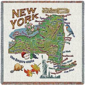 New York State Map Blanket | Woven Tapestry Throw | 54 x 54