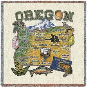 Oregon State Map Blanket | Woven Tapestry Throw | 54 x 54