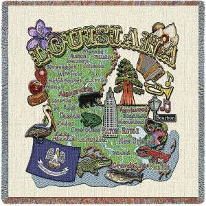 Louisiana State Map Blanket | Woven Tapestry Throw | 54 x 54