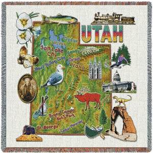 Utah State Map Blanket | Woven Tapestry Throw | 54 x 54