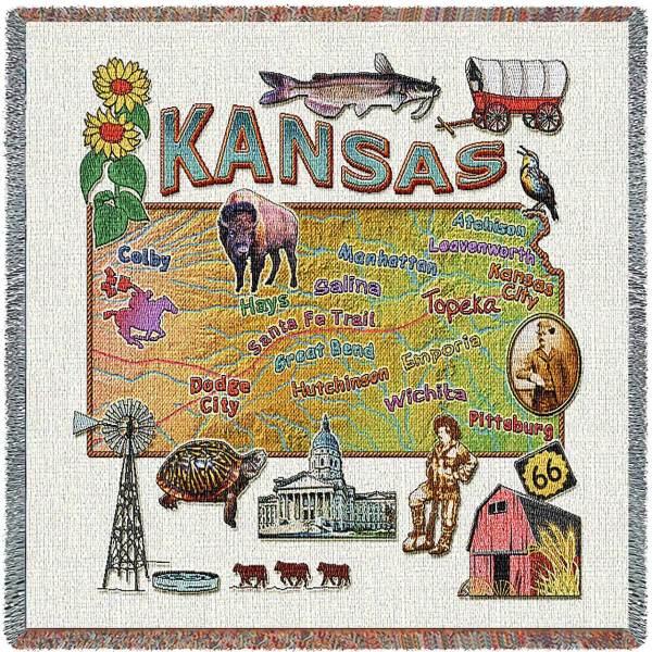 Kansas State Map Blanket | Woven Tapestry Throw | 54 x 54