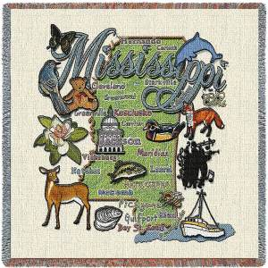 Mississippi State Map Blanket | Woven Tapestry Throw | 54 x 54