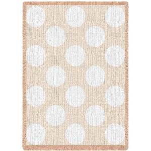 Polka Dots Mini Natural | Afghan Blanket | 48 x 35