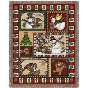 Christmas Bear Patchwork Blanket | 70 x 54