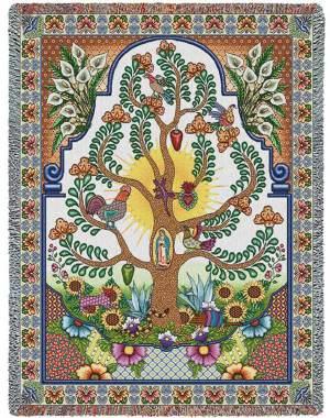Arboles de la Vida | Woven Tapestry Blanket | 53 x 70