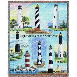 Lighthouses of Southeast Throw | Cotton Throw Blanket | 48 x 69