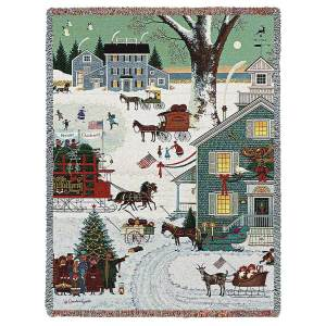 Cape Cod Christmas | Charles Wysocki | Christmas Throw Blanket