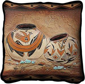 Zuni Pottery | Southwest Throw Pillow | 17 x 17