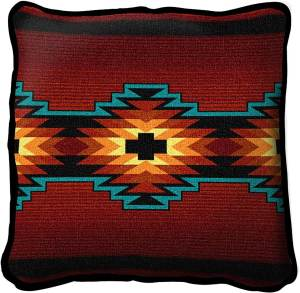 Southwest Geometric Deep Red | Throw Pillow | 17 x 17