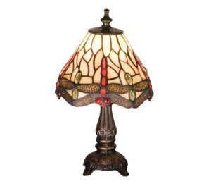 Tiffany Stained Glass Scarlet Dragonfly Small Accent Lamp | 11.5""