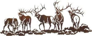 Elk Scene (Boys Night Out) Over the Door | 30"