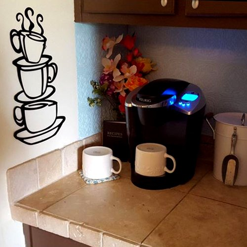 """Stacked Coffee Cups Silhouette Metal Wall Art   15"""""""