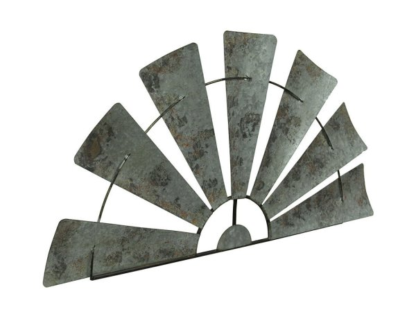 Galvanized Metal Half-Windmill Wall Sculpture | 36""