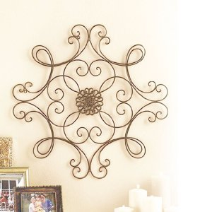 Bronze Iron Scroll Medallion Metal Wall Art | 24""