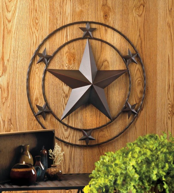 "24"" Texas Lone Star Metal Wall Art Rustic"