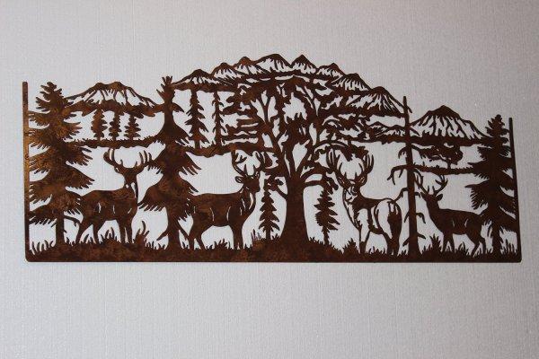 Deer & Mountain Scene Large Country Metal Wall Art