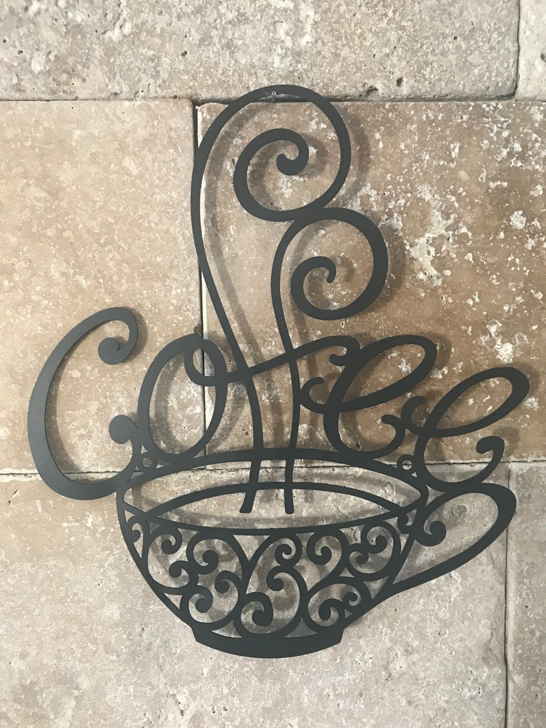 Scrolled Silhouette Coffee Cup Mug Metal Wall Art