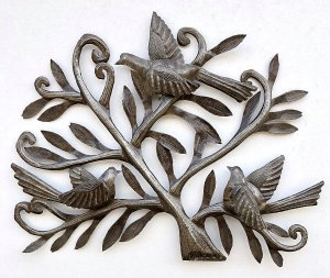 Nesting Birds   Haitian Metal Wall Art from Recycled Oil Drums