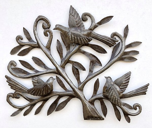 Nesting Birds | Haitian Metal Wall Art from Recycled Oil Drums