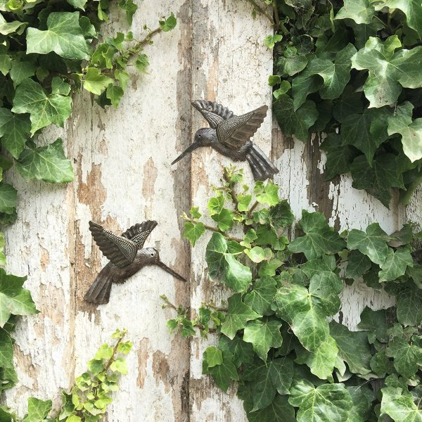 Hummingbirds   Haitian Metal Wall Art from Recycled Oil Drums   Set of 2