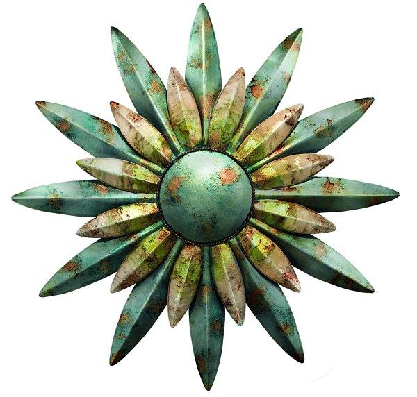 Aqua Sunburst Flower Sun Metal Wall Art