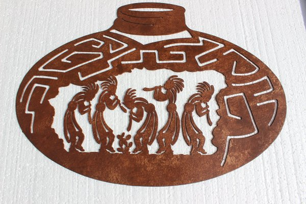 Dancing Kokopellis in a Large Southwestern Pot Metal Wall Art