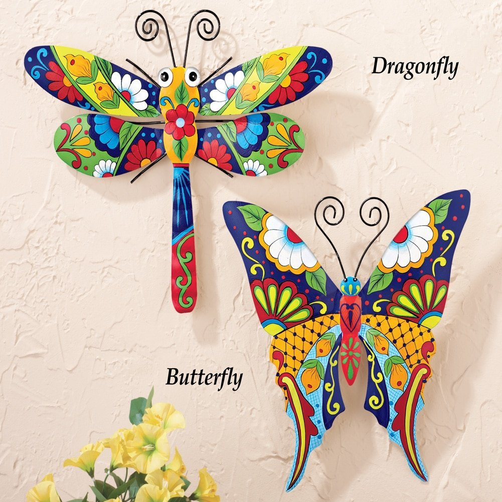 Southwestern Talavera Style Butterfly and Dragonfly Metal Wall Art