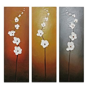 White Orchids | 3-Piece Oil on Canvas Floral Art Set