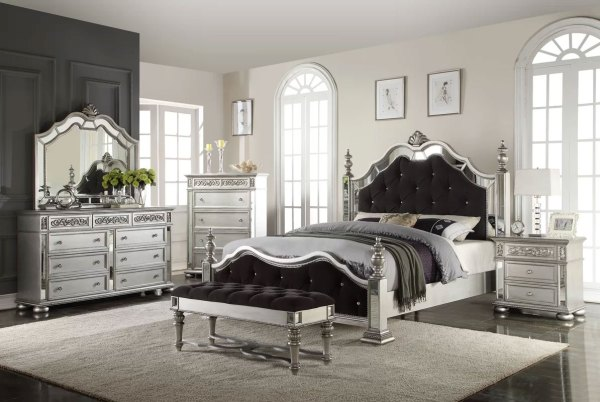Wightman Black & Silver Upholstered Bed