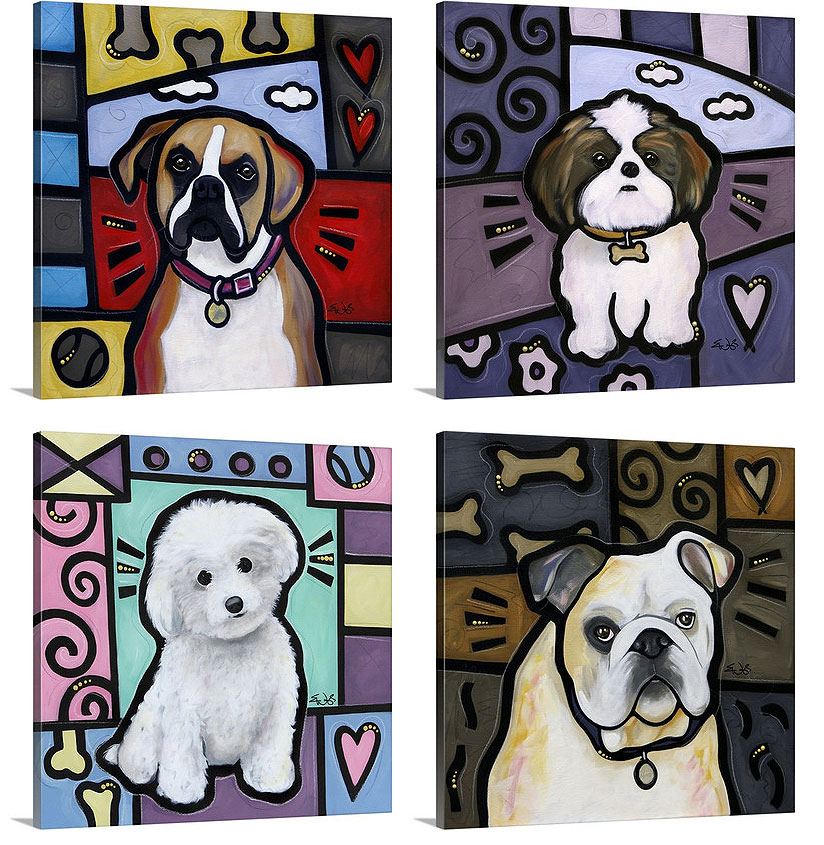Eric Waugh Art | Dog Pop Art Canvas Wall Art