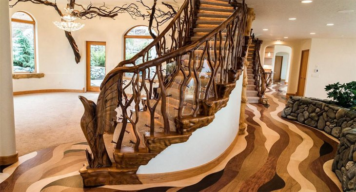 Each unique staircase is intricately designed, carved, and crafted to make you feel as though you are climbing up or down a tree