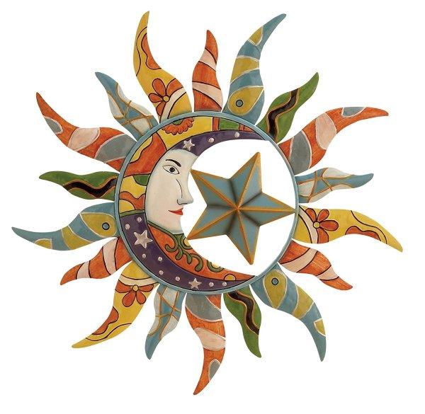 "Sun, Moon & Stars | Metal Wall Art | 24"""