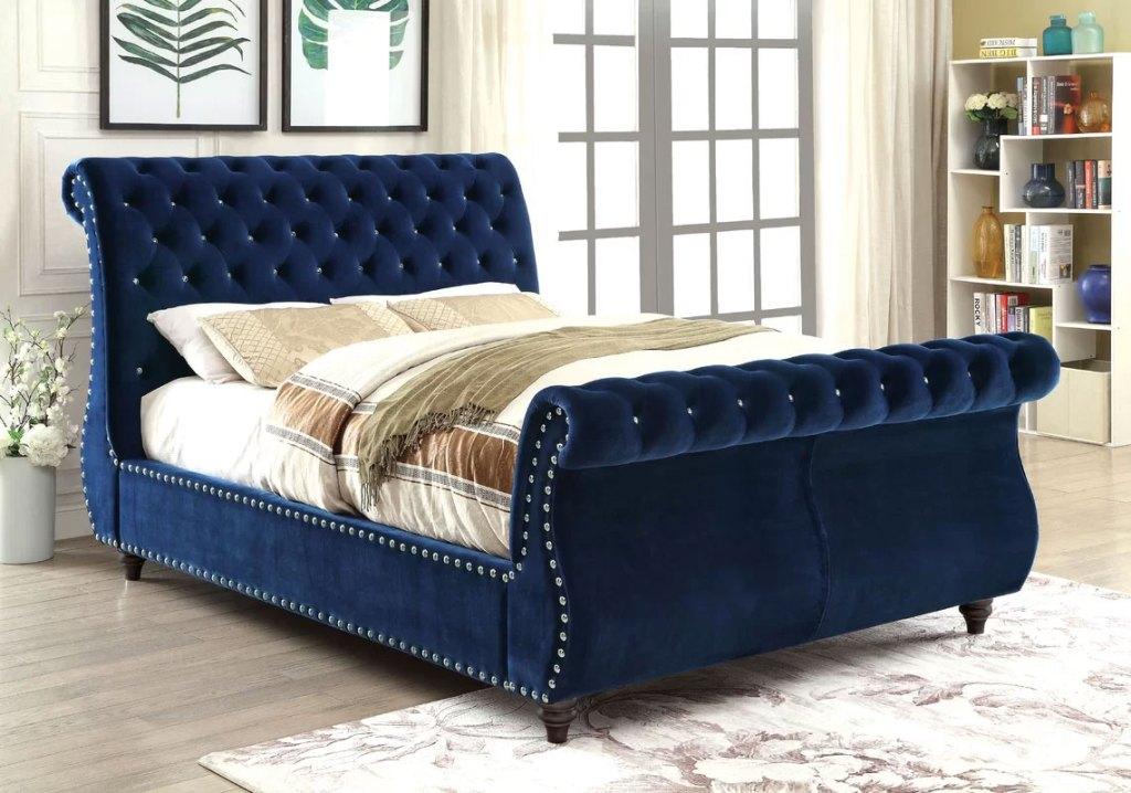 Upholstered Sleigh Beds | Hatfield Royal Blue Bed
