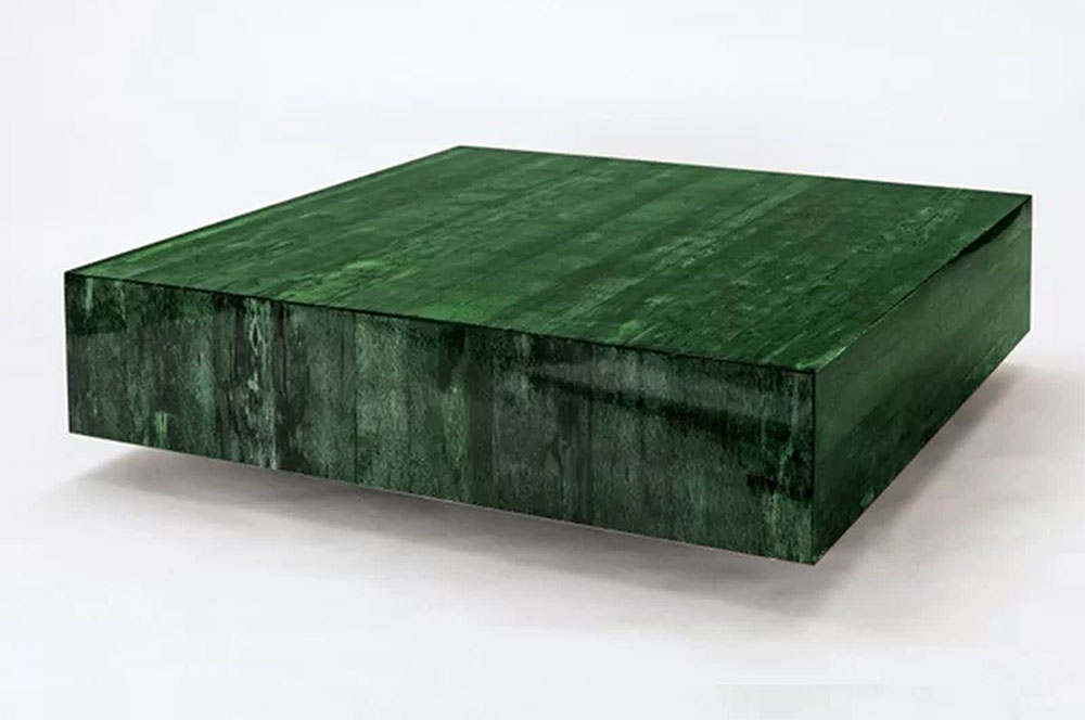 Modern Wooden Coffee Tables | Serge De Troyer Collection Papaya Husk Table in Green