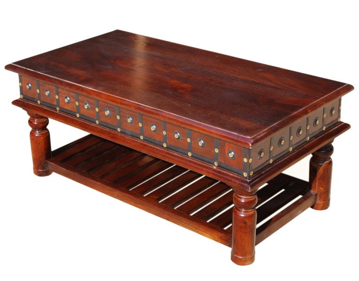 Traditional Wood Coffee Tables | Sierra Living Concepts | Colonial Dutch Mango Wood 2-Tier Coffee Table