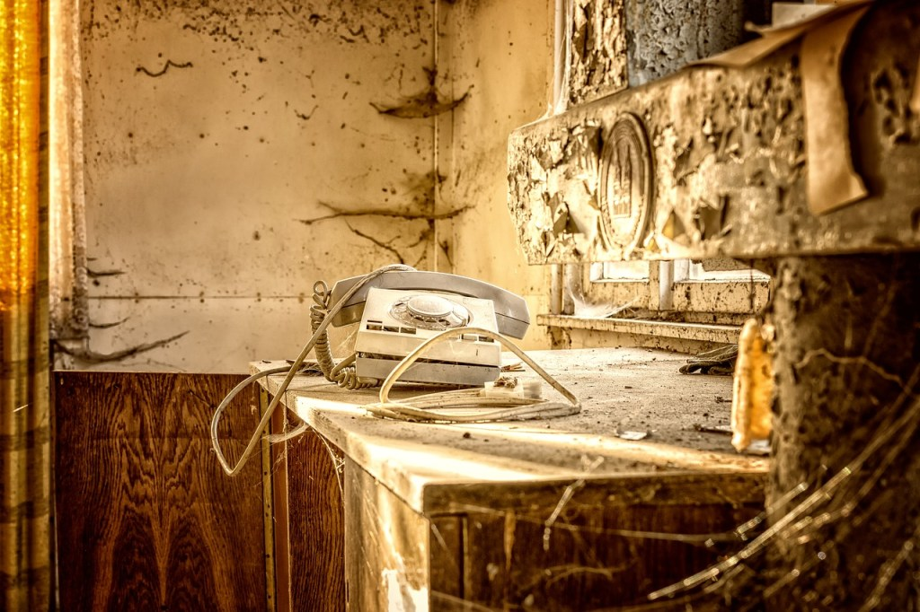 Abandoned House Interior with Vintage Phone