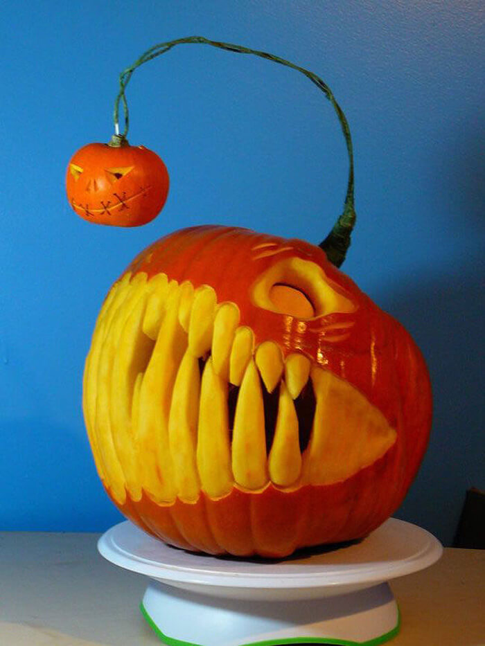 Creative Pumpkin Carving Ideas | Angler Fish Carved Pumpkin