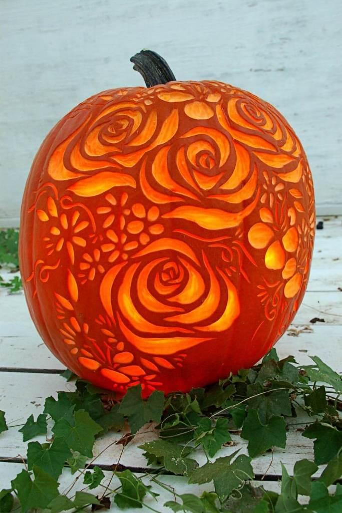 Creative Pumpkin Carving Ideas | Blooming Roses Carved Pumpkin