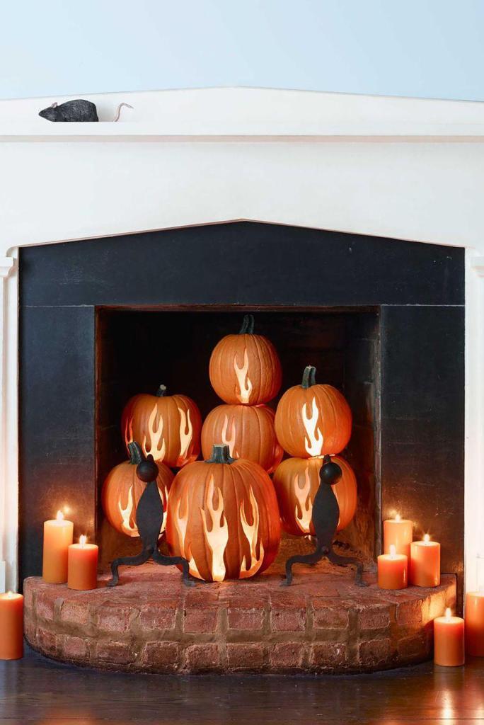 Creative Pumpkin Carving Ideas | Carved Pumpkin Fireplace