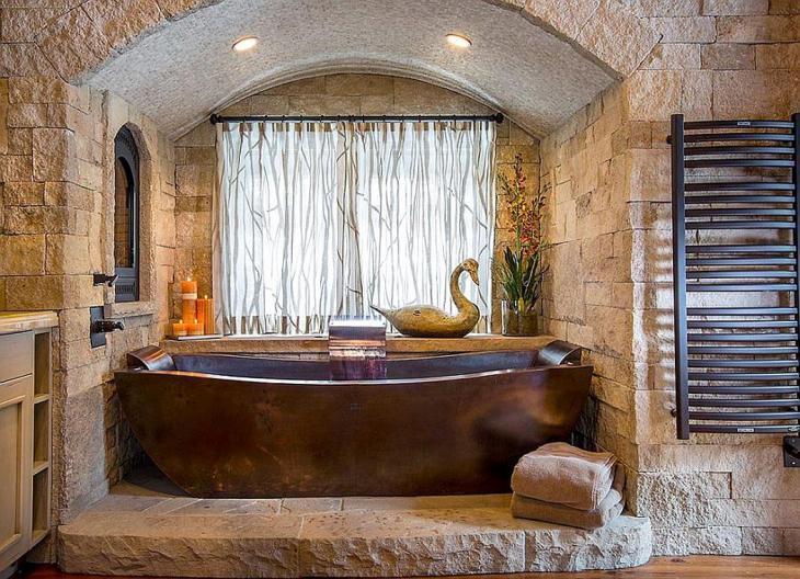Custom Copper Bathtub Against a Natural Stone Backdrop