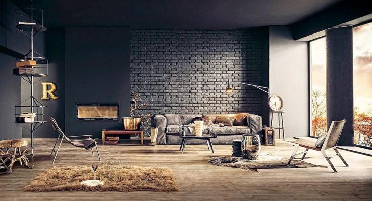 Dark Gray Painted Brick Wall by Lorenzo Pennati