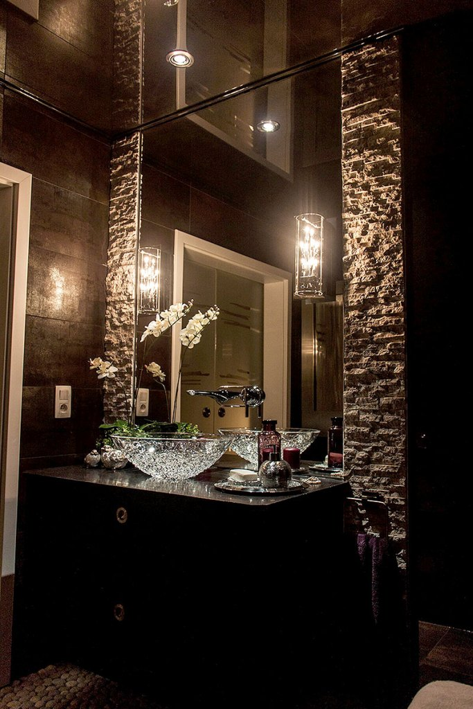 Elegant Brick Framed Bathroom Mirror
