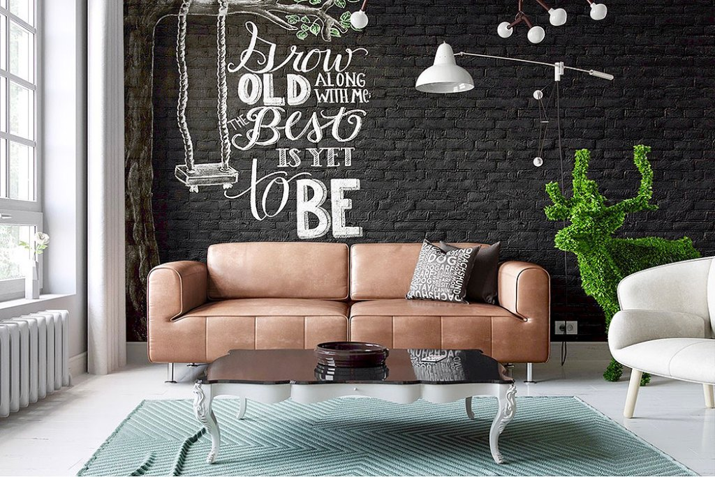 Black Exposed Brick Wall with Painted Word Art