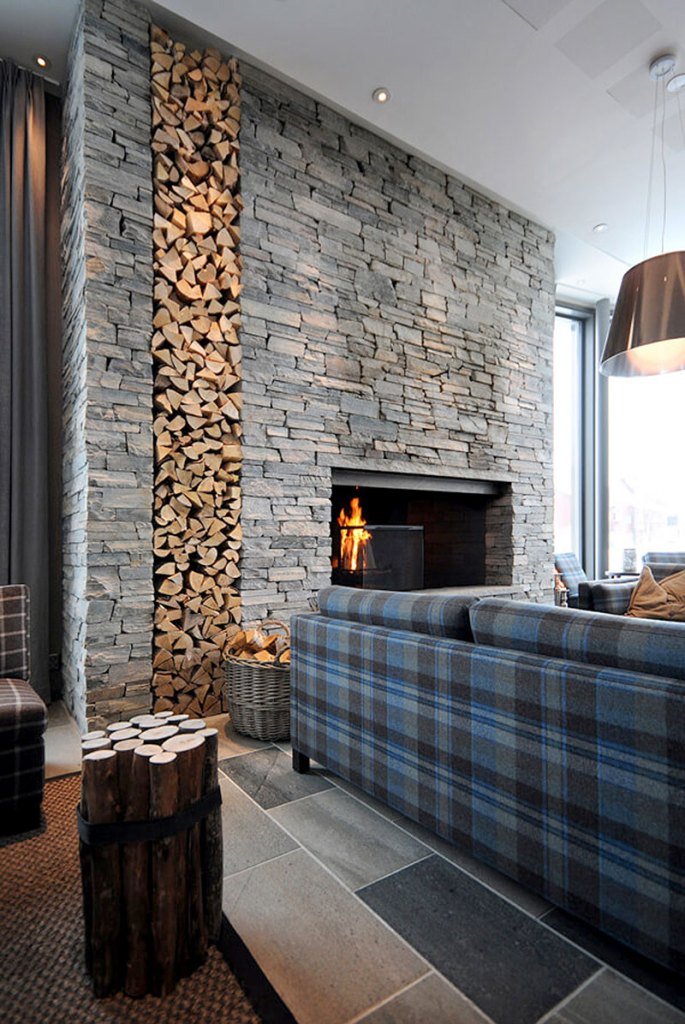 Mixed Stone Stacked Wood Fireplace Surround