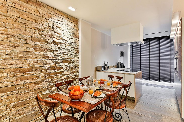 Modern Kitchen Stone Wall